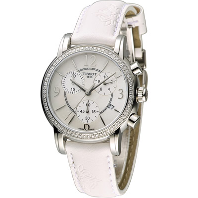 TISSOT 天梭 Dressport 綻放真鑽時尚計時運動腕錶-銀/35mm