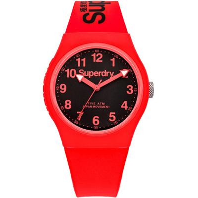 Superdry 極度乾燥Urban繽紛玩色時尚腕錶-黑X紅/38mm