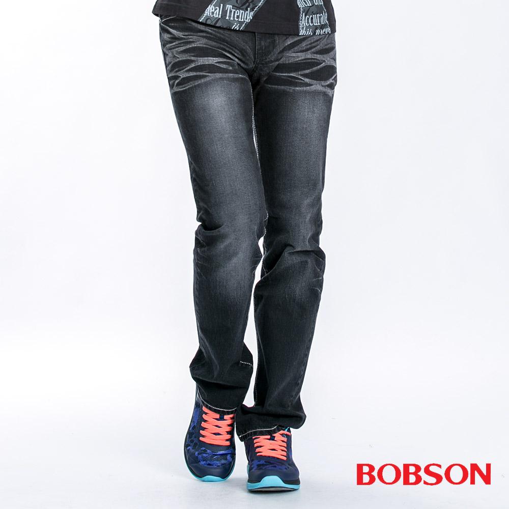 【BOBSON】男款立體壓摺繡花直筒褲(黑87)