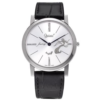 Ogival 瑞士愛其華 無窮動藝術百年紀念石英腕錶-銀/37mm