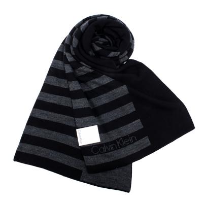 Calvin Klein CK 學院風格條紋針織圍巾-黑灰色