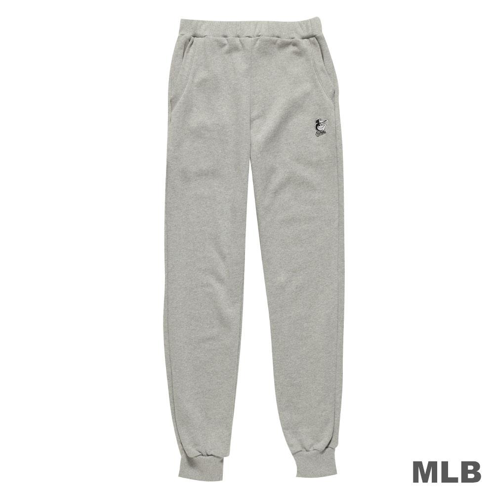 MLB-巴爾的摩金鶯隊縮口電繡合身厚長褲-麻灰(男)