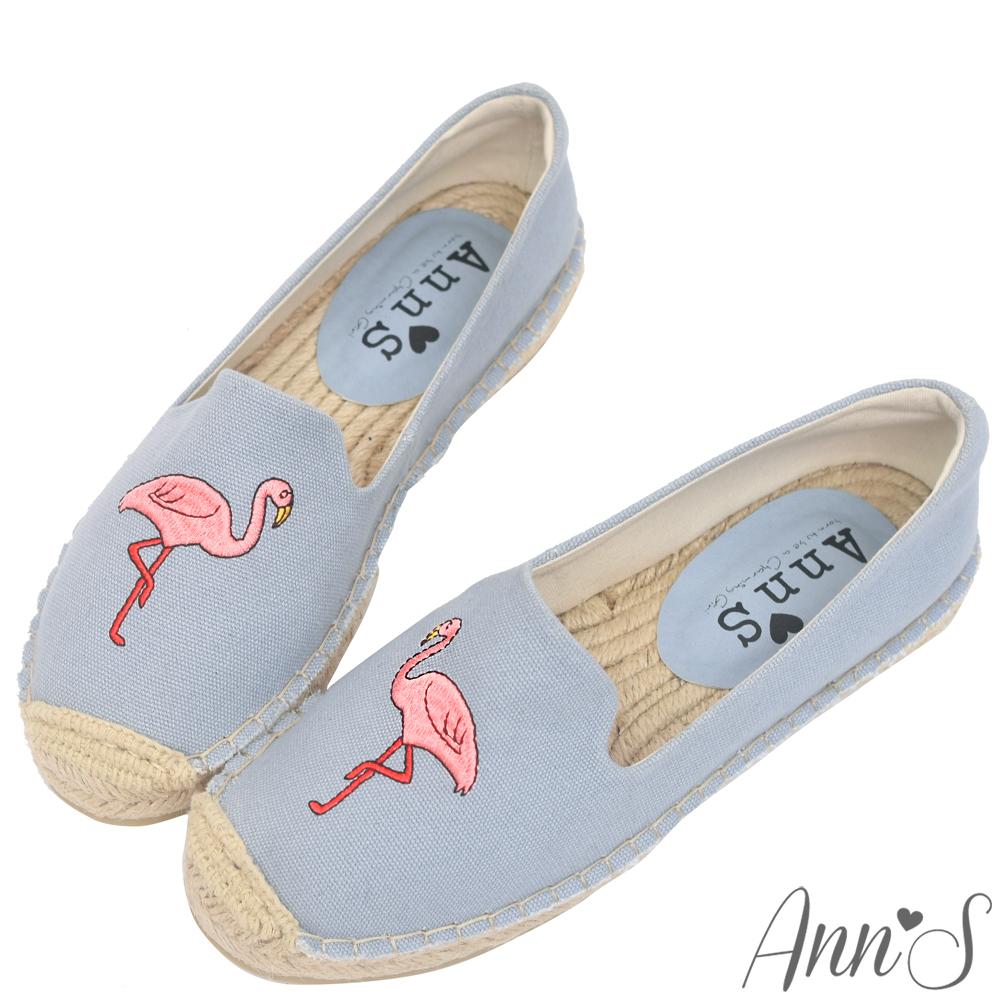 Ann'S時髦紅鶴手繪刺繡草編鞋-灰藍