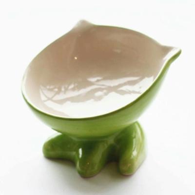 ViVi Pet 可愛小Q斜面陶瓷碗-貓咪造型 綠色