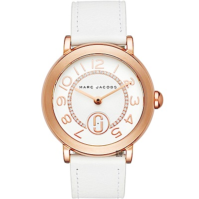 Marc Jacobs Riley 城市晶鑽小秒針手錶-銀x玫塊金框/36mm
