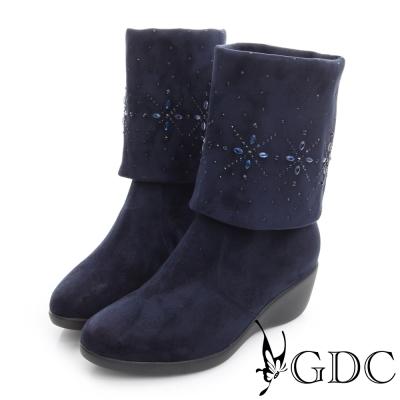 GDC個性-絨布真皮三穿水鑽圖騰楔型跟長靴-藍色