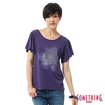 SOMETHING T恤 柔美荷葉袖印花造型T-女-紫色