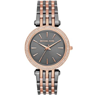 MICHAEL KORS 璀璨晶鑽雙色時尚手錶-銀灰X玫瑰金/33mm
