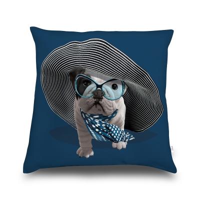 法國數位藝廊-狗狗抱枕/靠墊-法式香頌(海軍藍)-含芯/40x40