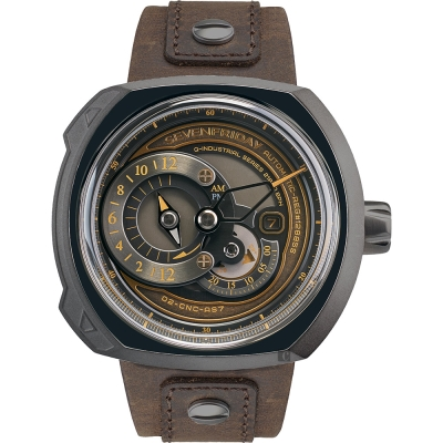 SEVENFRIDAY Q2-3 火車鐵道設計日期顯示機械錶-44x50mm