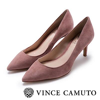 Vince Camuto 都會風尚 原色尖頭曲線高跟鞋-絨粉