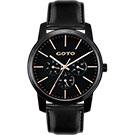 GOTO 多功能簡約復刻時尚手錶-IP黑/40mm