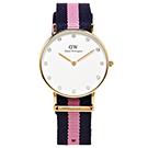 DW Daniel Wellington 甜美款施華洛世奇水鑽女性手錶 -白面/34mm