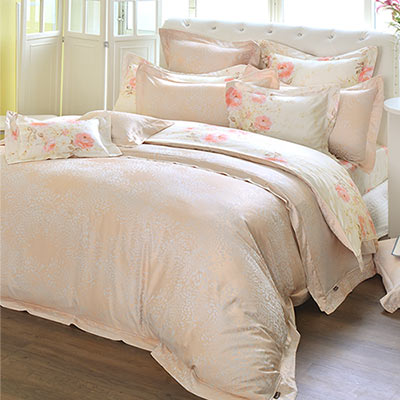 義大利La Belle 花田午後 雙人天竹緹印花四件式防蹣抗菌舖棉兩用被床包組
