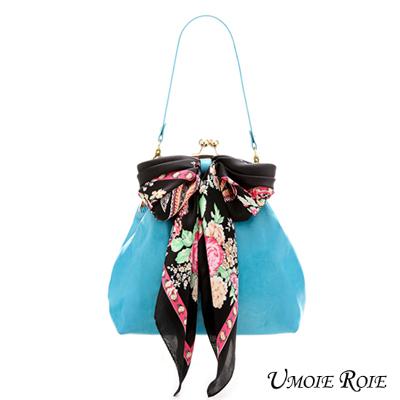 【Umoie Roie】戀戀好時光懷舊復古蝴蝶結絲巾包-甜甜小珠釦_藍