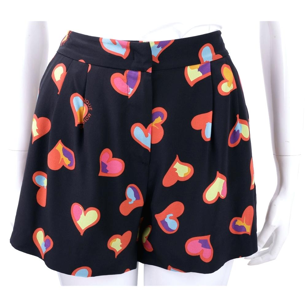 BOUTIQUE MOSCHINO 愛心印花黑色打摺細節絲質短褲
