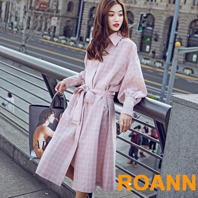 復古格紋燈籠袖長款洋裝 (粉色)-ROANN