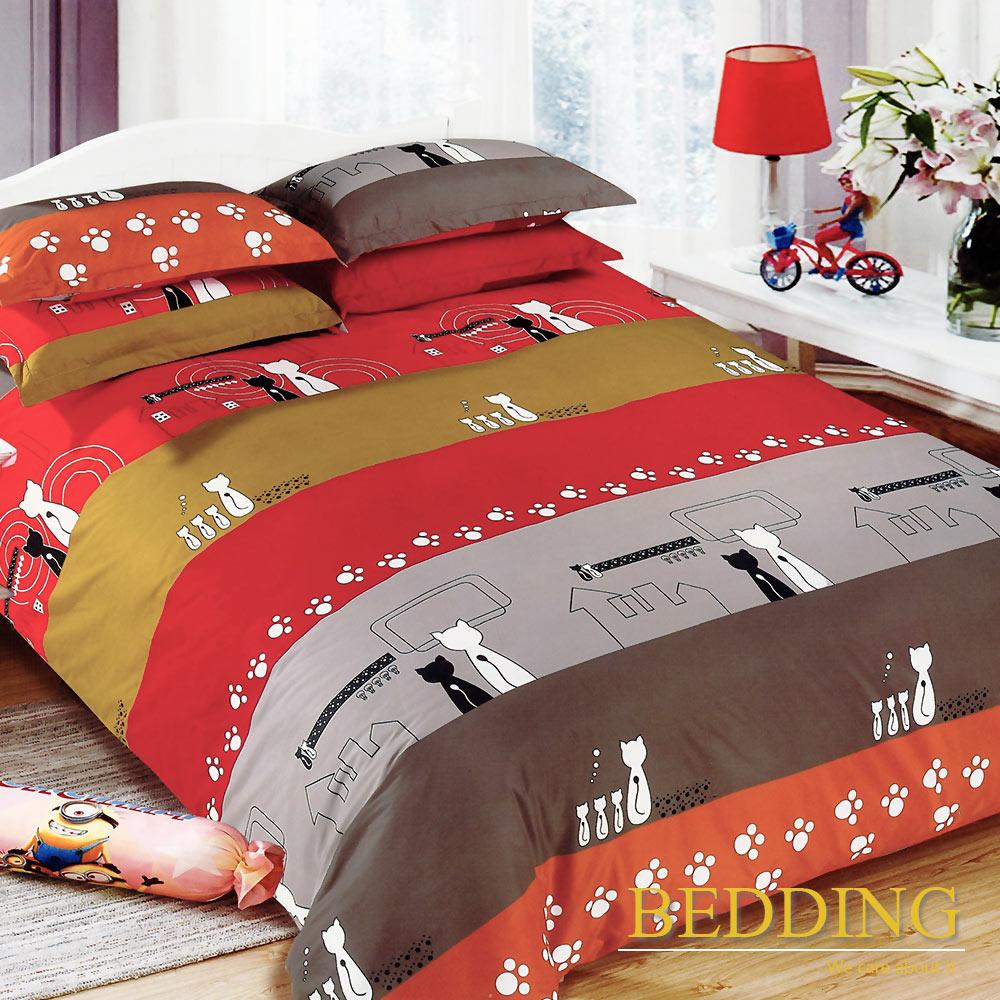 BEDDING  活性印染 雙人床包涼被組 貓之家