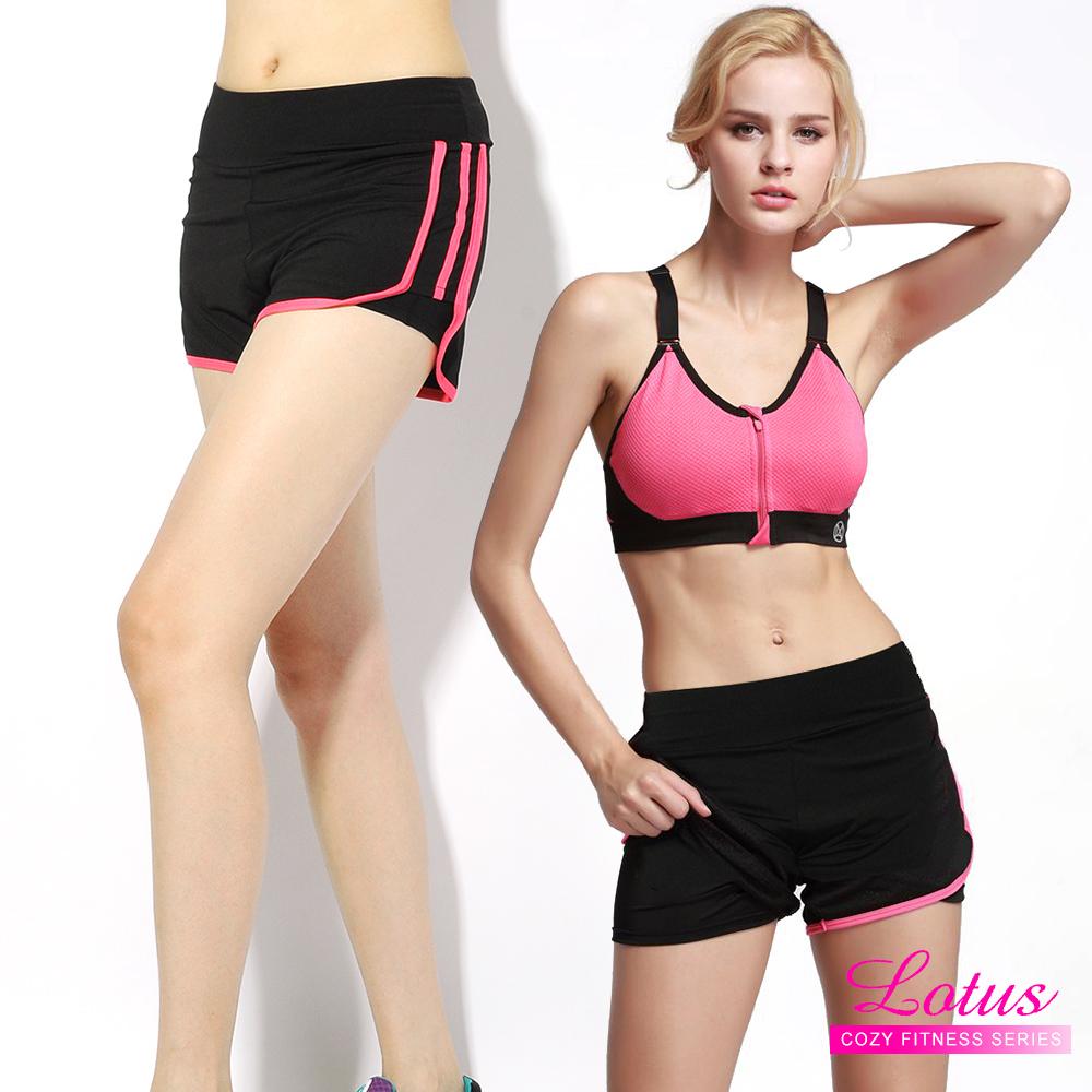 運動褲 雙層防走光玩色拼接彈力速乾運動短褲-蜜桃粉 快速到貨 LOTUS