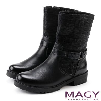 MAGY 個性街頭  皮帶扣環異材質拼接短筒靴-黑色
