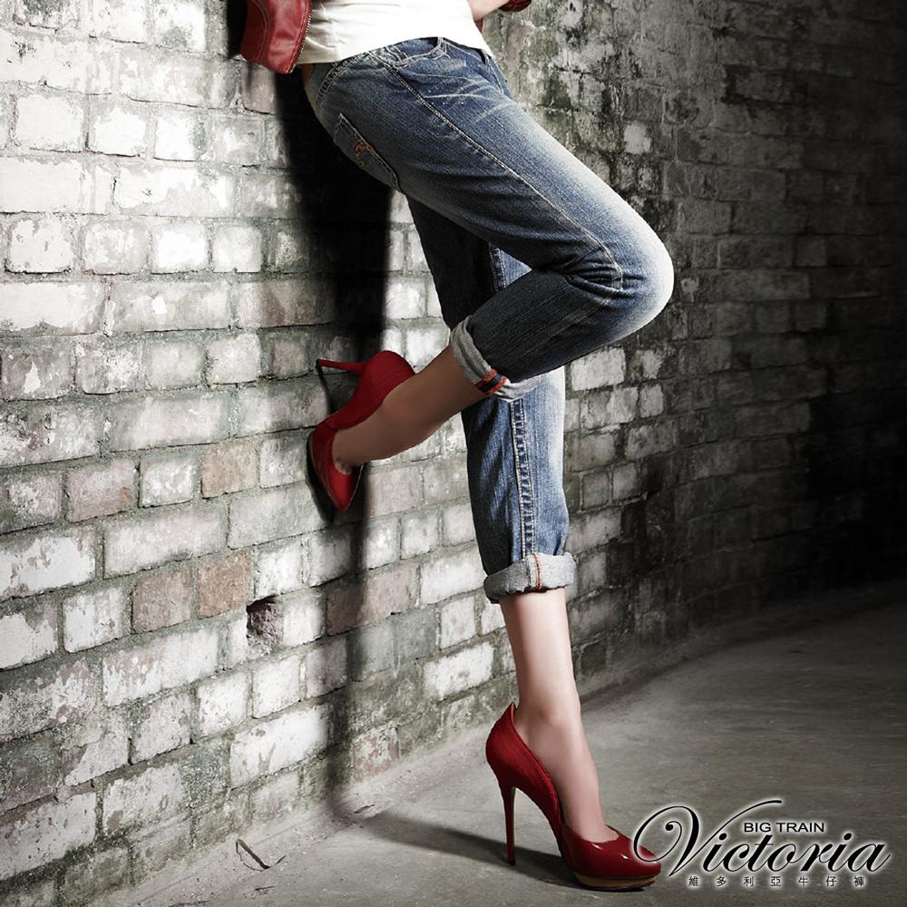 Victoria 豹紋繡男友褲-女-中藍