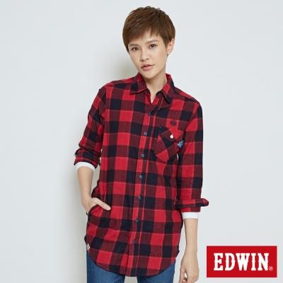 EDWIN EDOKATSU江戶勝長版襯衫-中性-紅色