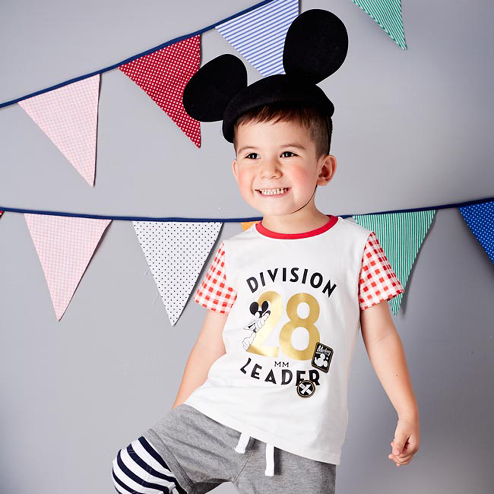Disney baby 米奇系列格紋短袖印圖棉T 紅色