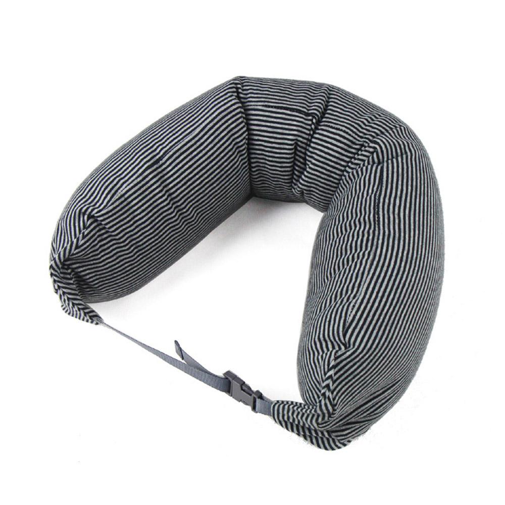 AOU 調整式U型枕 護頸枕 可拆洗 飛機搭機旅行枕(黑灰條紋)66-023D2