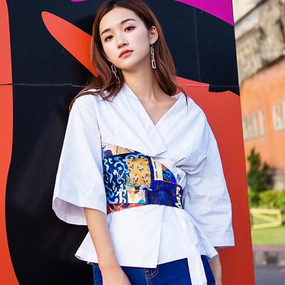 歐美風V領斜綁帶七分袖襯衫 (白色)-Kugi Girl