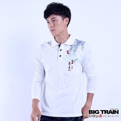 BIG TRAIN 扇紋金魚POLO長袖T-男-白色