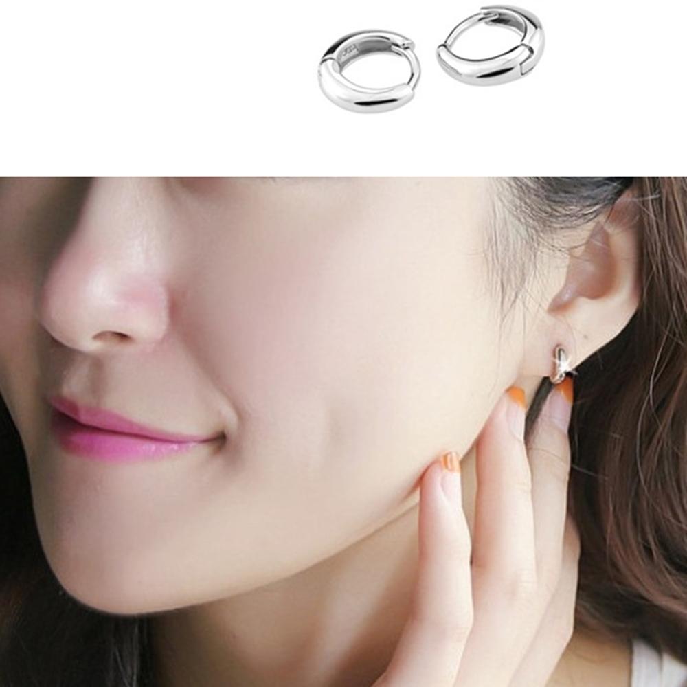梨花HaNA 極簡光面925銀光感新款圈型耳環(1.1CM較大版)