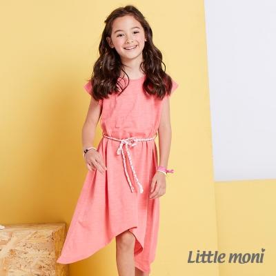 Little moni 涼夏長版不對襯綁帶洋裝  玫瑰紅