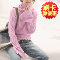 韓風喇叭袖高領針織上衣