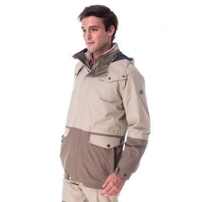 【hilltop山頂鳥】男款GoreTex兩件式防水羽絨拆袖短大衣F22MT4棕