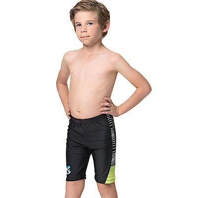 沙兒斯 兒童泳裝 橫條邊紋七分男童泳褲