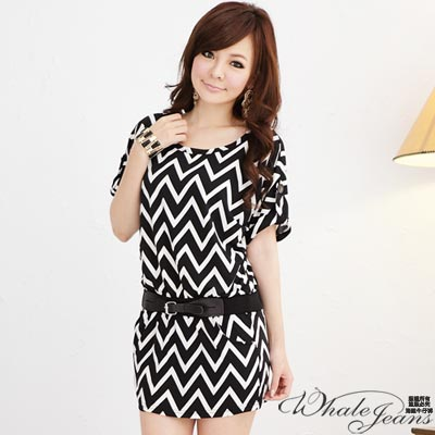 WHALE-JEANS-強烈黑白幾何時髦洋裝