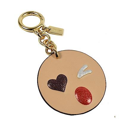 COACH 可愛表情符號牛皮鑰匙圈(粉膚)