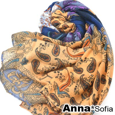 AnnaSofia-層梵彩紋-斜紋棉披肩圍巾-藍澄
