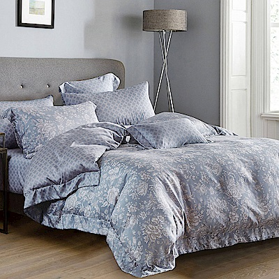 Lily Royal 天絲 加大-六件式兩用被床罩組 暗香疏影(藍)