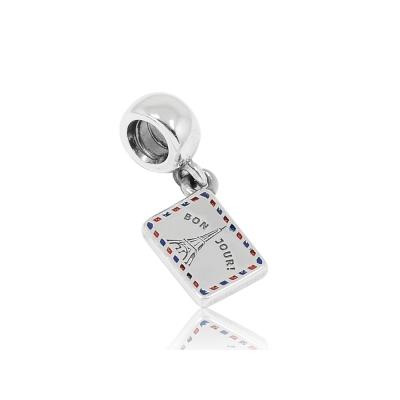 Pandora 潘朵拉 垂墜巴黎鐵塔明信片 純銀墜飾 串珠