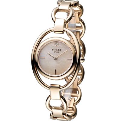 VOGUE 簡約出眾時尚腕錶-玫瑰金色/30mm
