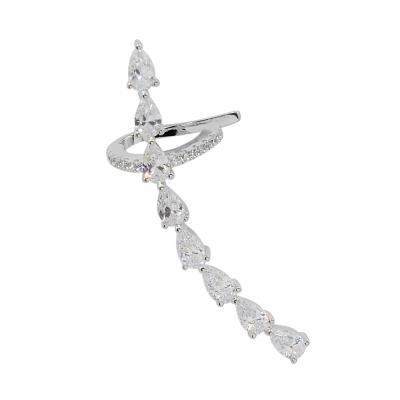 apm MONACO法國精品珠寶 閃耀銀色鑲鋯長條水滴單邊耳骨夾耳環