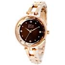 ELLE 閃耀晶鑽時尚手錶-咖啡X玫瑰金/32mm
