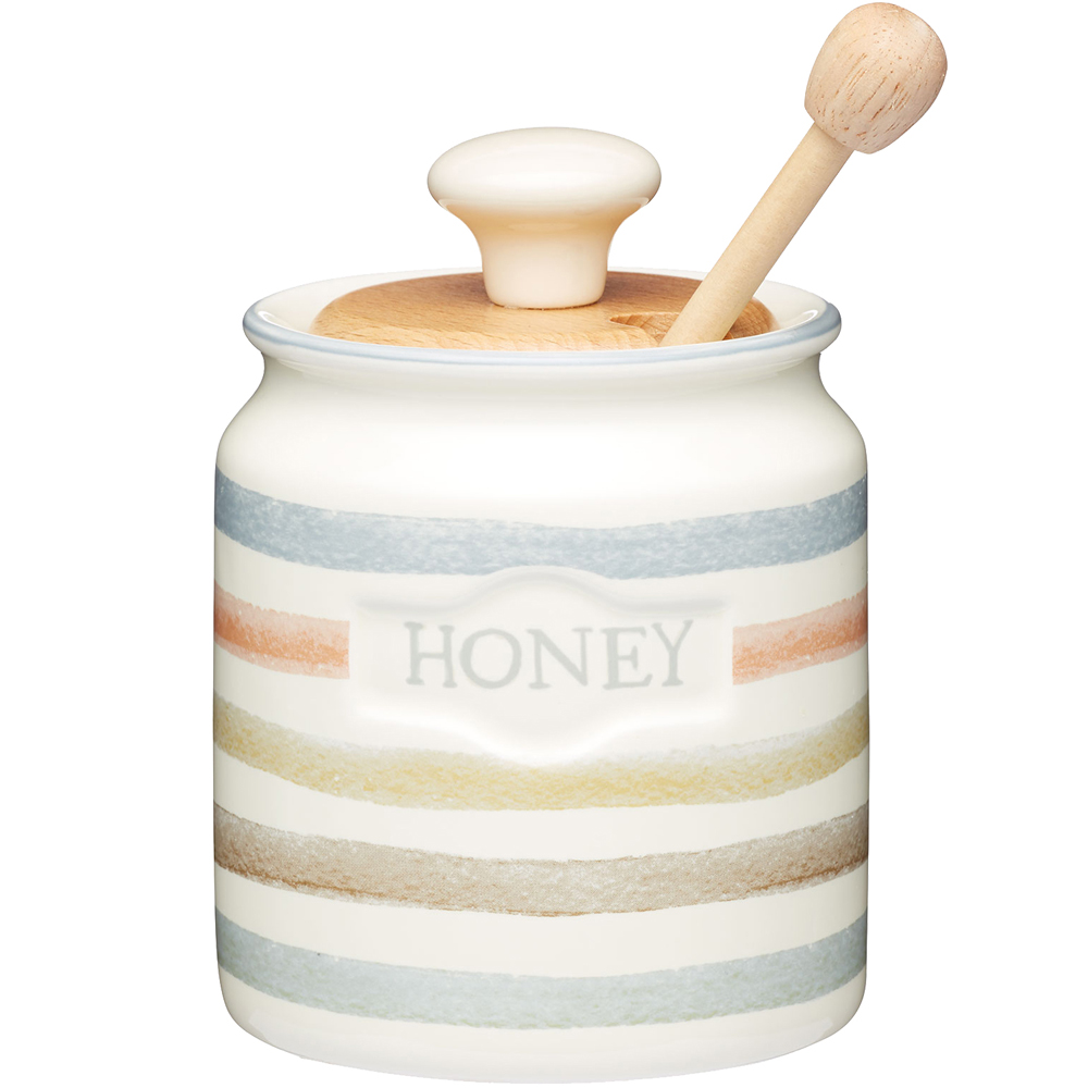 KitchenCraft 蜂蜜匙+木蓋陶罐(復古條紋)