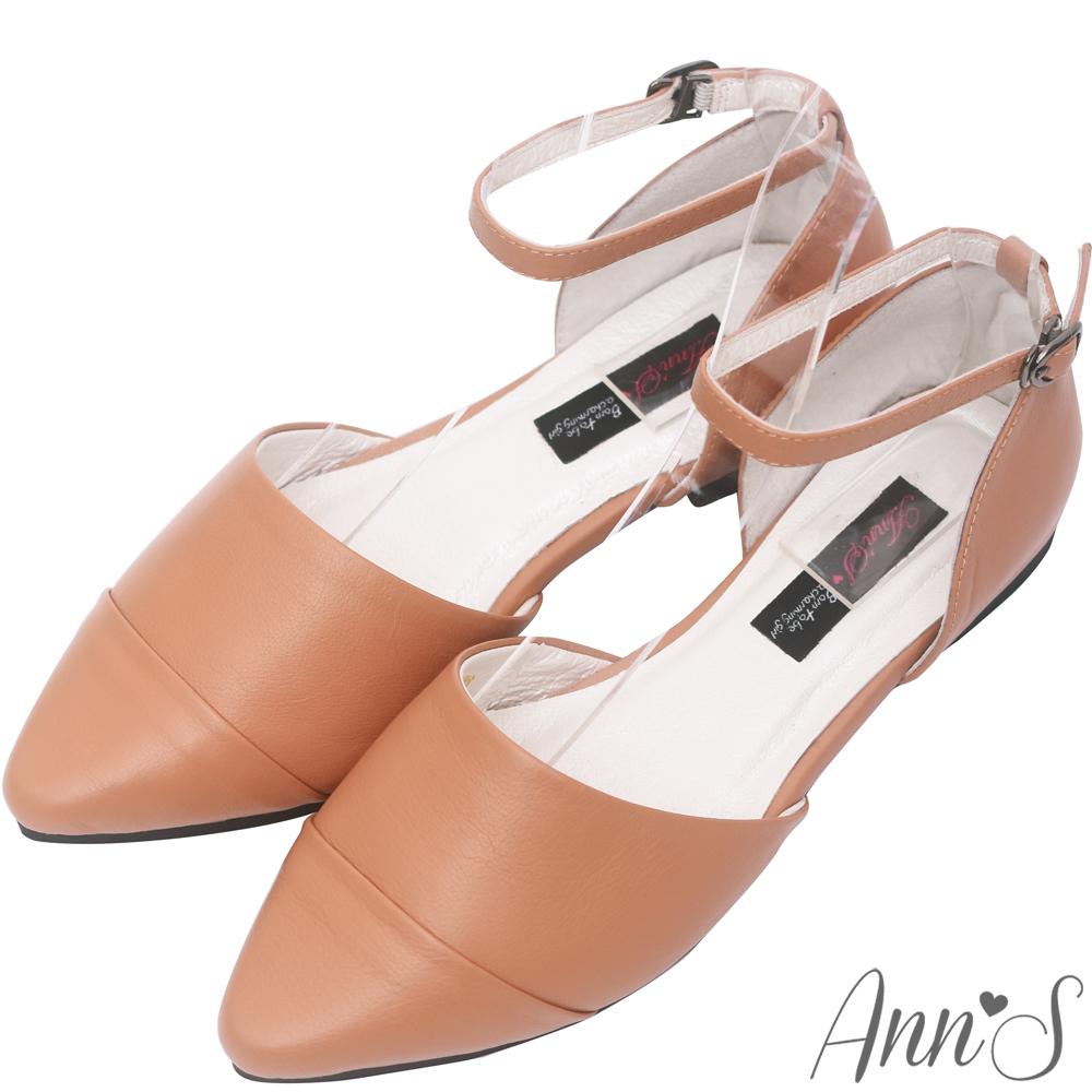 Ann'S柔軟綿羊皮繫帶側空尖頭平底鞋-棕