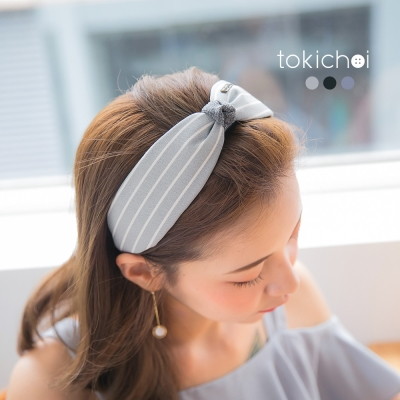 東京著衣 盛夏時刻條紋蝴蝶結髮圈(共三色)