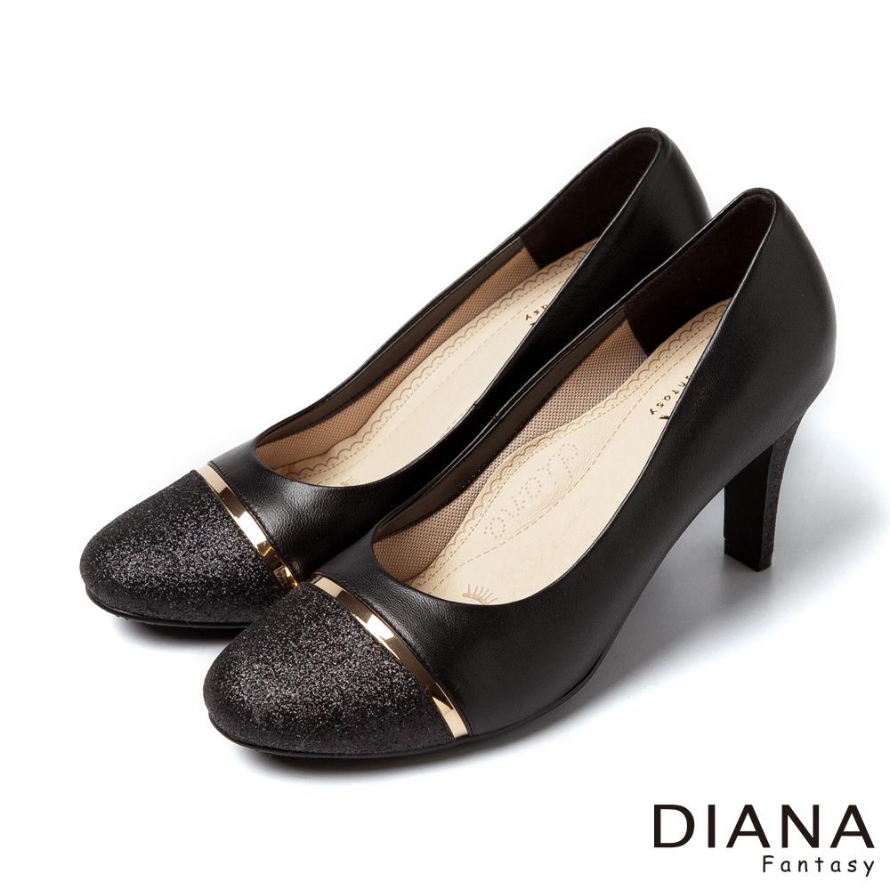 DIANA 超厚切焦糖美人--異材質對比色系真皮跟鞋-黑