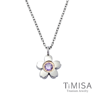TiMISA 小櫻花 (3色)純鈦(極細鎖骨)項鍊B
