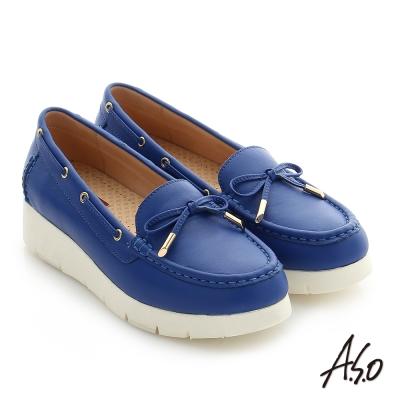 A.S.O 輕量休閒 真皮蝴蝶結飾釦奈米窩心休閒鞋 藍色