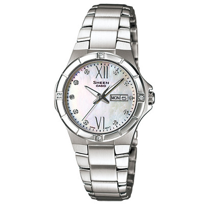 SHEEN 羅馬很浪漫施華洛世奇水晶腕錶(SHE-4022D-7A)-白/29.3mm